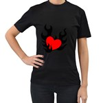 Black And Red Flaming Heart Women s T-Shirt (Black)