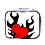 Black And Red Flaming Heart Mini Toiletries Bags