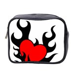 Black And Red Flaming Heart Mini Toiletries Bag 2-Side
