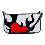 Black And Red Flaming Heart Shoulder Clutch Bags