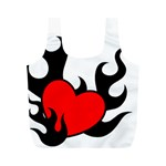 Black And Red Flaming Heart Full Print Recycle Bags (M)