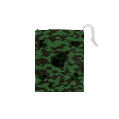 Green Camo Hearts Drawstring Pouches (xs)  by TRENDYcouture