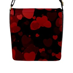 Red Hearts Flap Messenger Bag (l)  by TRENDYcouture