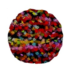 Colorful Brush Strokes                                             	standard 15  Premium Flano Round Cushion by LalyLauraFLM