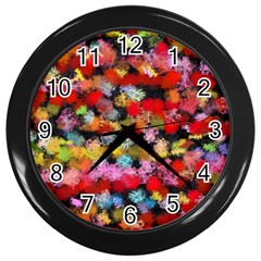 Colorful Brush Strokes                                             wall Clock (black) by LalyLauraFLM