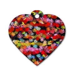 Colorful Brush Strokes                                             			dog Tag Heart (one Side) by LalyLauraFLM