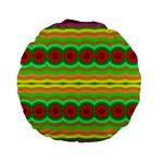 Circles and waves                                              Standard 15  Premium Flano Round Cushion Back