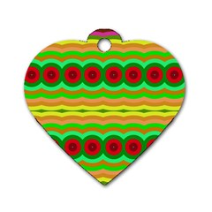 Circles And Waves                                              dog Tag Heart (one Side) by LalyLauraFLM