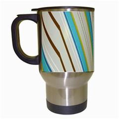 Bent Stripes                                               Travel Mug (white) by LalyLauraFLM