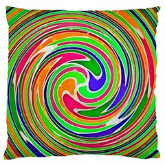 Colorful Whirlpool Watercolors                                                	large Flano Cushion Case (two Sides) by LalyLauraFLM