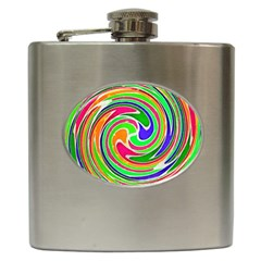 Colorful Whirlpool Watercolors                                                			hip Flask (6 Oz) by LalyLauraFLM