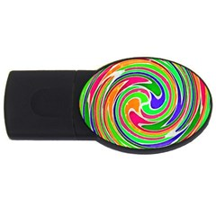 Colorful Whirlpool Watercolors                                                usb Flash Drive Oval (4 Gb) by LalyLauraFLM