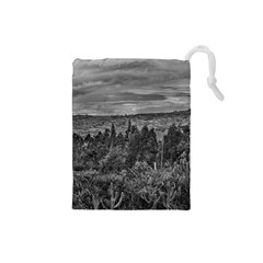 Ecuador Landscape Scene At Andes Range Drawstring Pouches (small)  by dflcprints