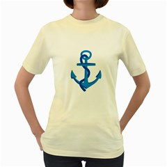 Blue Anchor Women s Yellow T Shirt by TRENDYcouture