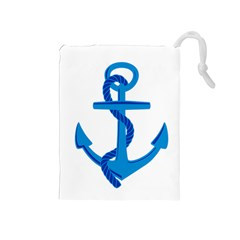 Blue Anchor Drawstring Pouches (medium)  by TRENDYcouture