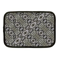 Silver Oriental Ornate  Netbook Case (medium)  by dflcprints