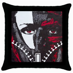 Zipperface Black Throw Pillow Case by DryInk