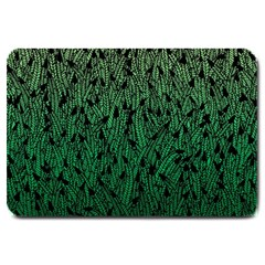 Green Ombre Feather Pattern, Black, Large Doormat by Zandiepants