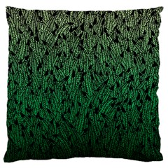 Green Ombre Feather Pattern, Black, Large Flano Cushion Case (two Sides) by Zandiepants