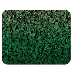 Green Ombre feather pattern, black, Double Sided Flano Blanket (Medium) by Zandiepants