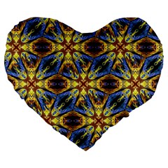 Vibrant Medieval Check Large 19  Premium Flano Heart Shape Cushions by dflcprints