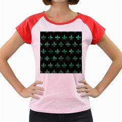 Royal1 Black Marble & Green Marble (r) Women s Cap Sleeve T Shirt