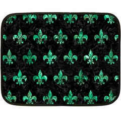 Royal1 Black Marble & Green Marble (r) Fleece Blanket (mini) by trendistuff