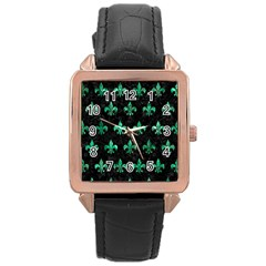 Royal1 Black Marble & Green Marble (r) Rose Gold Leather Watch  by trendistuff