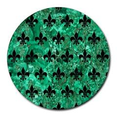 Royal1 Black Marble & Green Marble Round Mousepad by trendistuff