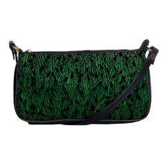 Green Ombre Feather Pattern, Black, Shoulder Clutch Bag by Zandiepants