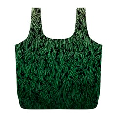 Green Ombre Feather Pattern, Black, Full Print Recycle Bag (l) by Zandiepants