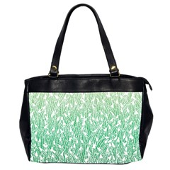 Green Ombre Feather Pattern, White, Oversize Office Handbag (2 Sides) by Zandiepants
