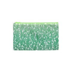 Green Ombre Feather Pattern, White, Cosmetic Bag (xs) by Zandiepants