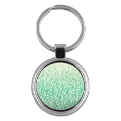 Green Ombre Feather Pattern, White, Key Chain (round) by Zandiepants