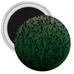 Green Ombre Feather Pattern, Black, 3  Magnet by Zandiepants