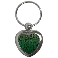 Green Ombre Feather Pattern, Black, Key Chain (heart) by Zandiepants