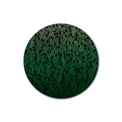 Green Ombre Feather Pattern, Black, Rubber Coaster (round) by Zandiepants