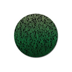 Green Ombre Feather Pattern, Black, Magnet 3  (round)