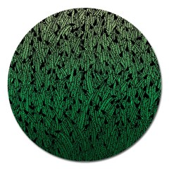 Green Ombre Feather Pattern, Black, Magnet 5  (round) by Zandiepants