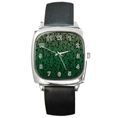Green Ombre Feather Pattern, Black, Square Metal Watch by Zandiepants