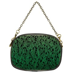 Green Ombre Feather Pattern, Black, Chain Purse (one Side) by Zandiepants