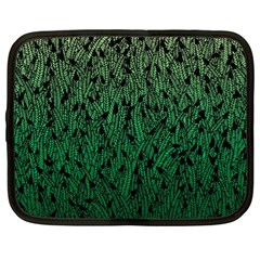 Green Ombre Feather Pattern, Black, Netbook Case (xl) by Zandiepants