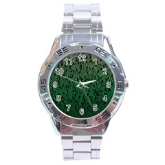 Green Ombre Feather Pattern, Black, Stainless Steel Analogue Watch by Zandiepants