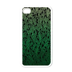 Green Ombre feather pattern, black, Apple iPhone 4 Case (White) by Zandiepants