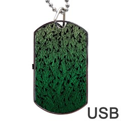 Green Ombre Feather Pattern, Black, Dog Tag Usb Flash (one Side) by Zandiepants