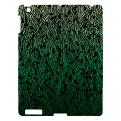 Green Ombre Feather Pattern, Black, Apple Ipad 3/4 Hardshell Case by Zandiepants