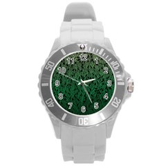 Green Ombre Feather Pattern, Black, Round Plastic Sport Watch (l) by Zandiepants