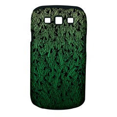 Green Ombre Feather Pattern, Black, Samsung Galaxy S Iii Classic Hardshell Case (pc+silicone) by Zandiepants