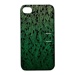 Green Ombre Feather Pattern, Black, Apple Iphone 4/4s Hardshell Case With Stand by Zandiepants