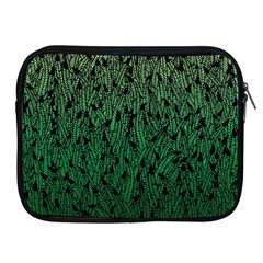 Green Ombre Feather Pattern, Black, Apple Ipad 2/3/4 Zipper Case by Zandiepants
